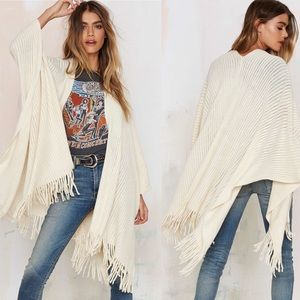 Nasty Gal Shawl it a Day fringe poncho